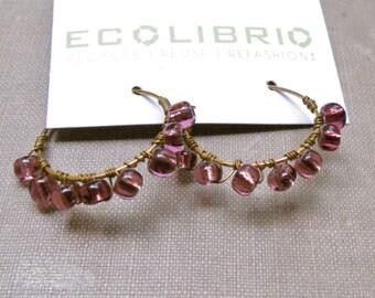 Clearance Sale - Purple bead earrings hoop earrings wire wrapped boho earrings gypsy earrings