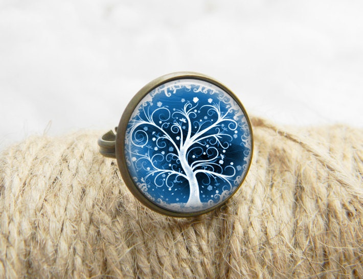 tree of ring jewelry print photo blue white by