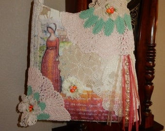 Shabby Chic Lady With Vintage Crocheted Doilies Handbag Purse