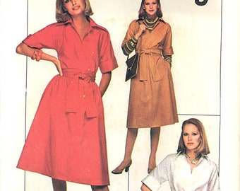 1977 Vintage Simplicity Pattern 8085, Size 14, Misses' Jiffy Pullover Dress or Top