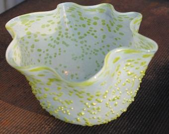 Crimp ripple bowl. Celadon and Bright Green. Iridescent. Handblown glass bowl . 9_26