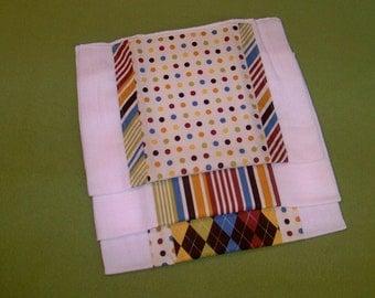 Three Piece Set Of Diaper Burp Pads - Companion Pieces To Preppy Argyle Print - A Tallulah Original