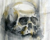 Framed Watercolor Skull Painting 8 x 10 in - PaintandThings