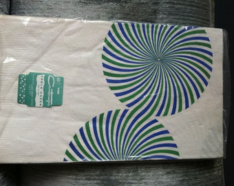 White Paper Picnic Table Cover with Blue and Green Pinwheel Design - NOS