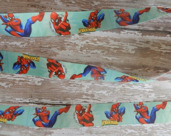 3 Yards of 1 Inch Spider Man Grosgrain Ribbon