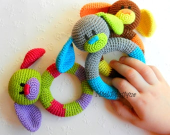 Crochet Toys : Crochet baby toy, Teething baby toy, Grasping and Teething Toys Dog ...