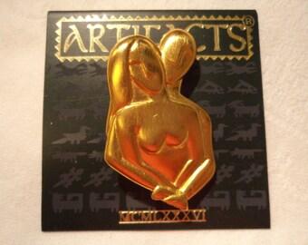 Vintage Signed JJ Gold pewter Lovers Embrace Brooch/Pin