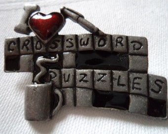 Vintage Signed Danecraft  Silvertone Crossword Puzzle Brooch/Pin
