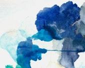 Blue Painting Art Print, Abstract Art, Acrylic Painting Print, Navy Blue Wall Art, Begin