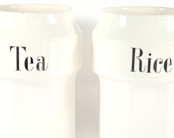 White Ceramic Kitchen Canisters Set Tea Canister Rice Container Small White Vase Set Made in Germany