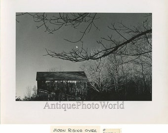 Moon over barn vintage art photo by D. Cox