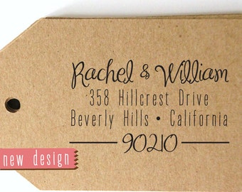 CUSTOM ADDRESS STAMP, personalized pre inked address stamp, pre inked custom address stamp, calligraphy address stamp & proof - Stamp d5-30
