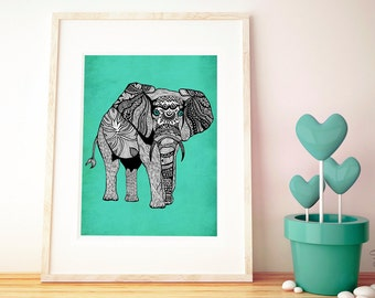 Poster Print 8x10 or 11x14 - Tribal Turquoise Elephant - For Your Home Decor