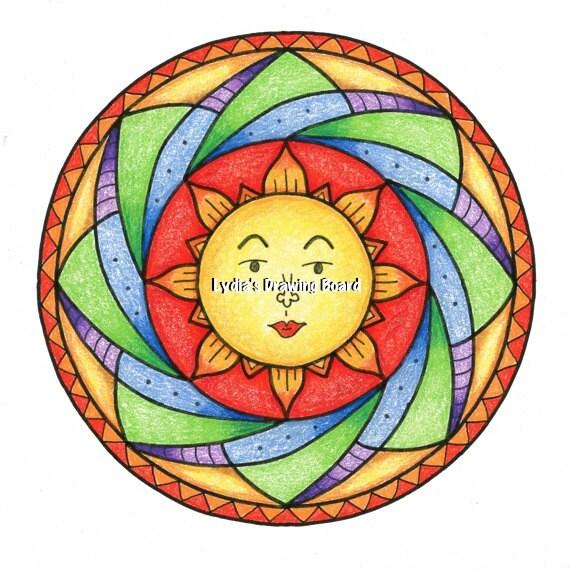 Sun Art, Sun Print, Sun Wall Art, Sun Wall Decor, Mandala, Mandala Art, Mandala Print, Mandala Wall Art, Mandala Wall Decor, Whimsical Art