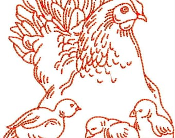 Rooster and Chicken Redwork  Machine Embroidery Design