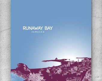 Office Art Poster / Runaway Bay Jamaica Skyline / Home Office Decor / Any city or Location