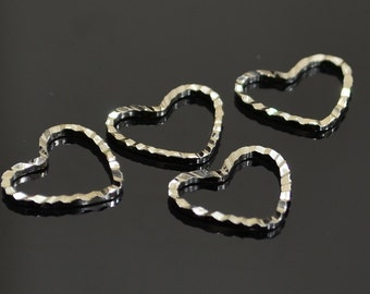 30 Pcs Silver Color 12x13 mm Heart Findings