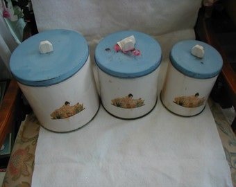 Blue and white set of 3 canisters l940's or 1950's very collectible.  Love the knobs on top.