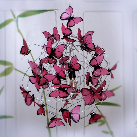 lamp pink butterflies ceiling lamp with butterflies nursery decor baby. Black Bedroom Furniture Sets. Home Design Ideas