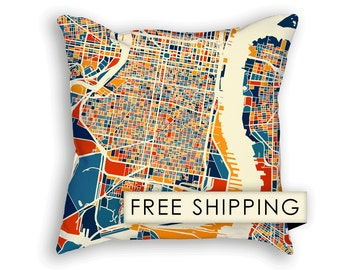 Philadelphia Map Pillow - Philly Map Pillow 18x18