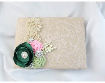 READY TO SHIP Wedding Lace Guest Book Custom Bridal Flower Brooch Guest Books in Champagne, Emerald Green, Lime Juice Green and Pink