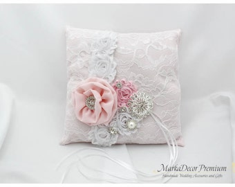READY TO SHIP Wedding Handmade Lace Ring Pillow Custom Bridal Bearer Brooch Flower Pillow in White and Pink