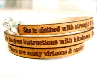 Proverbs 31:25-29  Daily Reminder Leather triple wrap bracelet