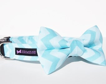 Chevron Dog Collar Bow Tie Set - Blue