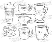 Coffee Lovers Set Digital Stamp/ KopyKake Image- DS51-COFLOVSET
