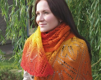 KNITTING PATTERN PDF - Maple Leaves Lace Scarf