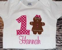Personalized Hot Pink Girngerbread Girl Creeper - T-shirt - Birthday - Christmas