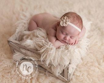 Cream Ivory Off White  Baby Headband ; Newborn Cotton Flower Velvet  Headband , Crochet Flower Baby Headband