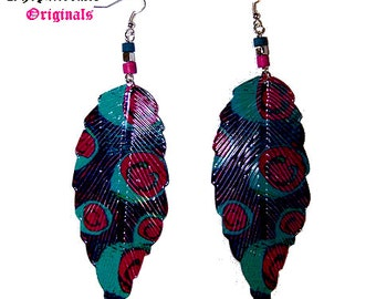Alloy Feathers ~ Handpainted Earrings