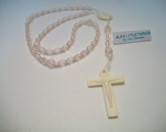 Vintage Pale Pink Rosary Beads Religious First Communion Baptism Catholic Collectible Gifts