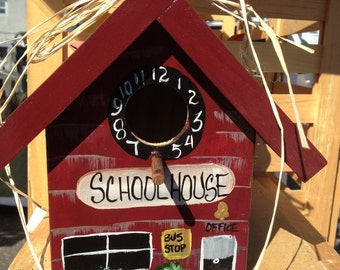 School House..Teacher  Painted Functional Birdhouse
