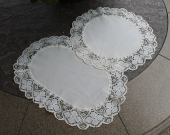 Set of Two Ivory lace doilies - One Round and One Oval