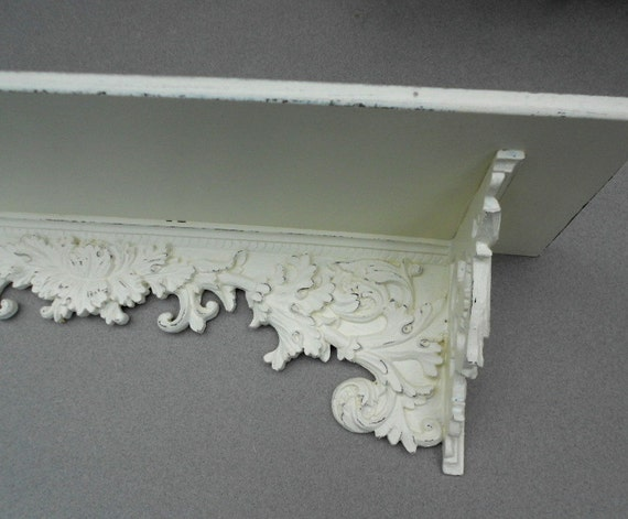 wall shelf vintage ornate shabby chic cottage white. Black Bedroom Furniture Sets. Home Design Ideas