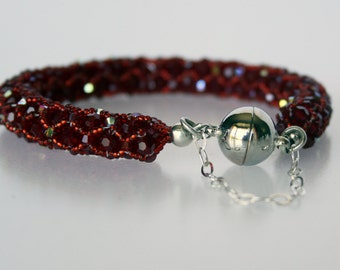 Swarvoski Red Crystal Netting Stitched Bracelet