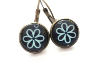 Earrings Blue  Flower Juwelry handmade blossom