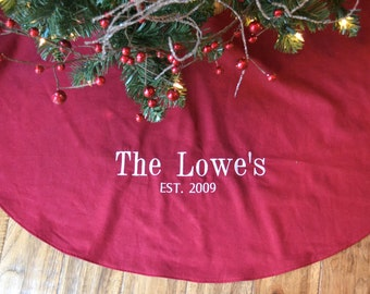 personalized christmas tree skirt red linen tree skirt monogrammed red christmas tree skirt - Pink Christmas Tree Skirt
