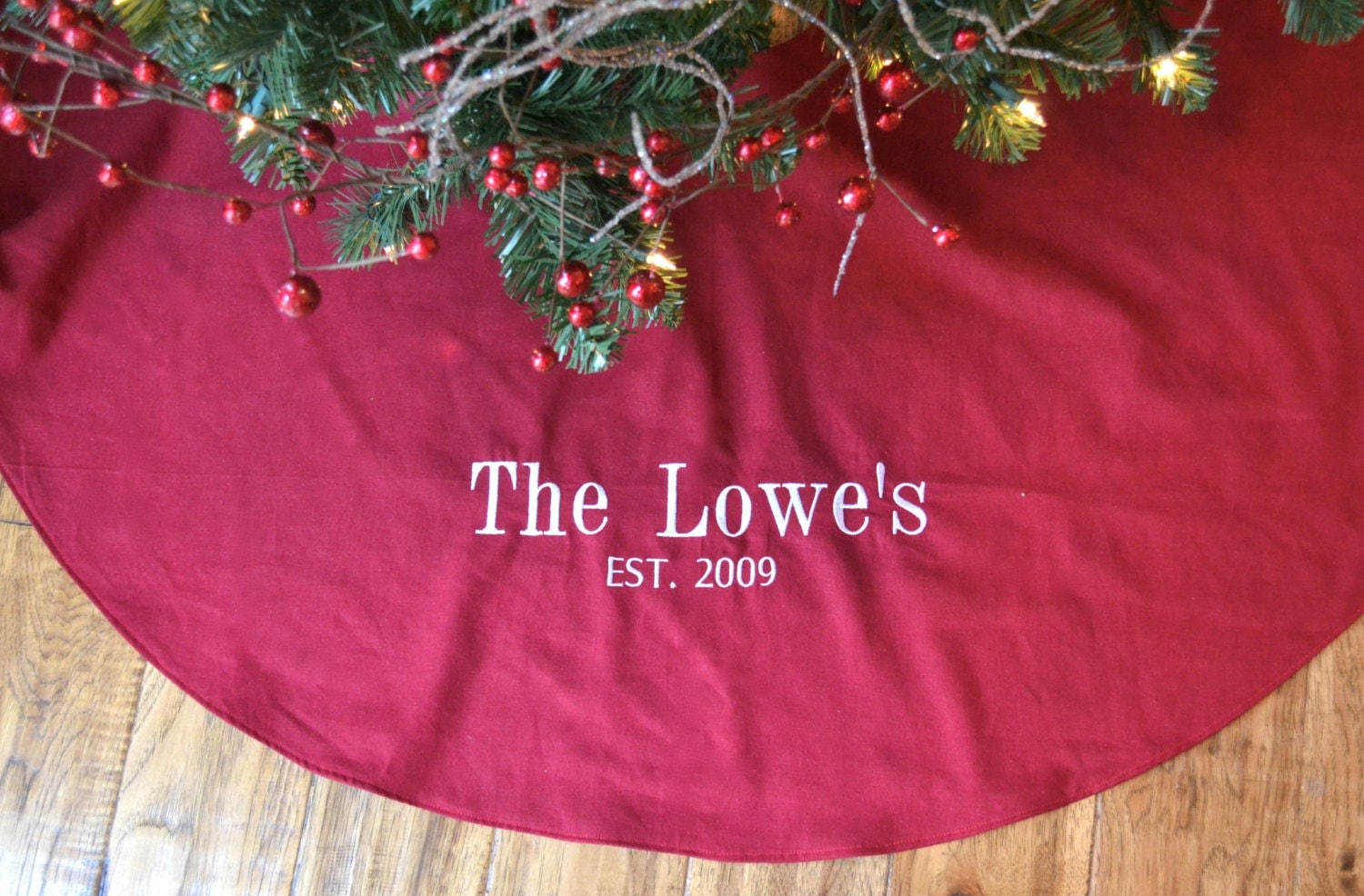 Personalized Christmas Tree Skirt Red Linen Tree Skirt