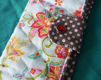 Floral Quilted Checkbook Cover, Light Blue Floral Coupon Wallet