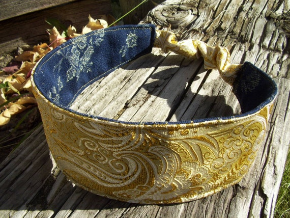 Gold Damask Headband, Ladies Reversible Denim Headband