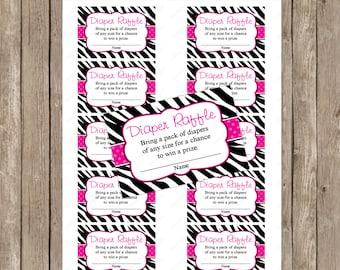 Pink Zebra Diaper raffle ticket - instant download