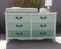 SOLD -- Vintage French Provincial 6-drawer dresser with custom matching changing table tray by Henry Link