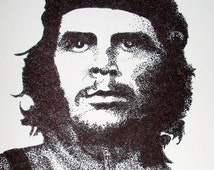 Instant Download of  Che Guevara Pointillism Drawing for Personal Use or Scroll Saw Pattern