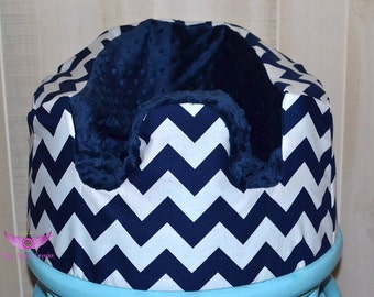 Navy and White Chevron with Navy Minky Bumbo Seat Cover