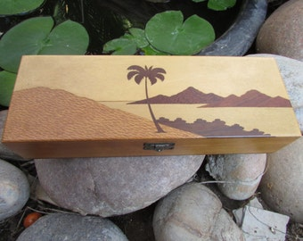 Inlaid Wooden Box Palm Tree Ocean Mountains Brazil