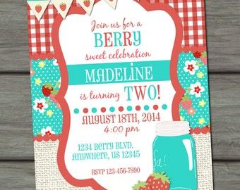 Strawberry Birthday Invitation, Berry Sweet Birthday Invitation, First Birthday Invitation, Strawberries Birthday Invitation