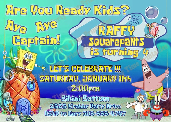 Items similar to Spongebob Invitation Printable Party Invitations – Spongebob Party Invitations